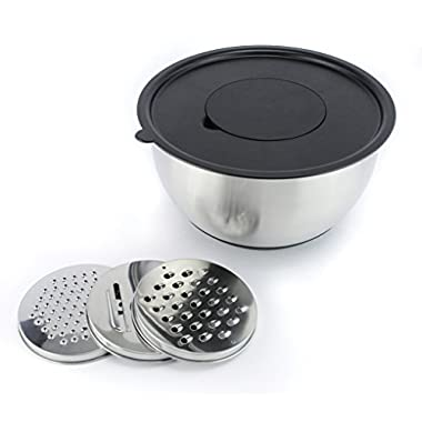 Zell Stainless Steel Non-Slip Mixing Bowl (Prep Bowl, Salad Bowl), silicone bottom, 5 quart capacity with lid and grater set