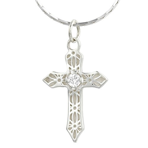 Pearl and Gem Designs Sterling Silver Cross Pendant Necklace, Inspiring Jewelry for Women, Christian Gift & Swarovski Zirconia