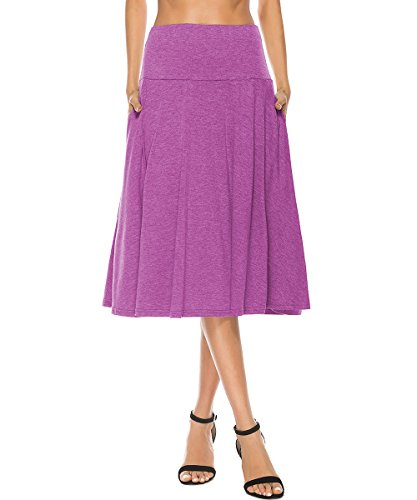 YiLiQi Women's High Waist Knitted Pleated Pocket Midi Skirt Purple-XL