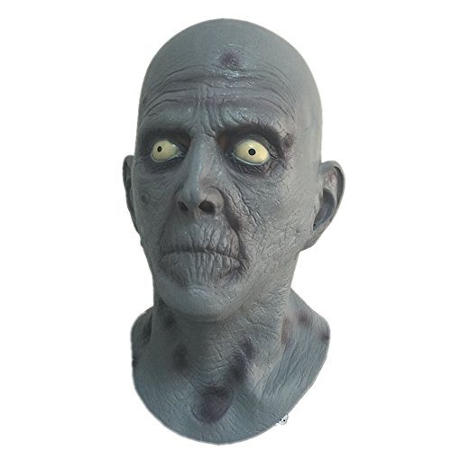 Fancy Dress Latex Masks (Scary Old Man Latex Mask Terror Blue Male Head Rubber Masks Halloween Carnival Masquerade Zombie Cosply Party Fancy Dress Props)
