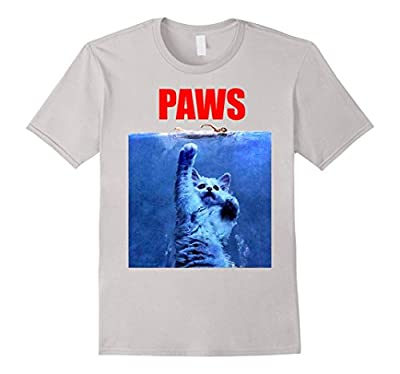 Funny T Shirt - Paws Cat Kitten Jaws Parody Top Quality Tee