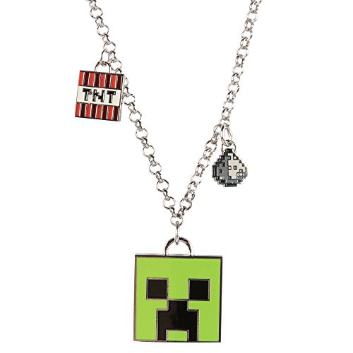 JINX Minecraft Enchanted Creeper Charm Necklace for Teen Girls and Women