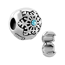 Winter Snowflake Blue Crystal Birthstone Clip Stopper Charms Sale Cheap Jewelry Beads Fit Pandora Bracelets