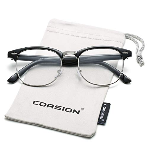 COASION Vintage Semi-Rimless Clear Glasses Fake Nerd Horn Rimmed Eyeglasses Frame (Bright Black/Silver Rimmed) (Vintage Horn Rimmed Glasses)