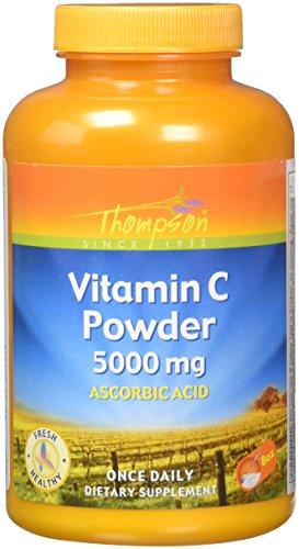 Thompson Vitamin C Powder | 5000mg | 100% Pure Ascorbic Acid | Immune Support & Antioxidant Supplement | No Fillers, No Excipients | 8 oz