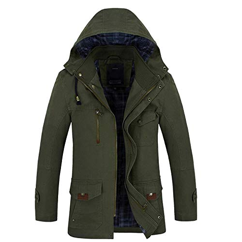 Noon-Sunshine Men's Parka Coat Fur Liner Jacket Men Outerwear Parka Military Hoodies Thick Coats & Jacket,Army Green,M - Mens Bugaboo Parka
