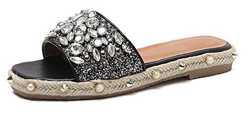 Perlas zapatillas de paja femeninos sandalias planas y zapatillas de tacón bajo con mujeres Black
