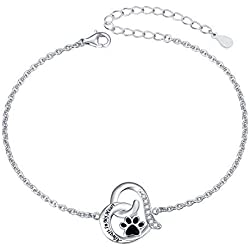 925 Sterling Silver Engraved Always in My Heart Cat Puppy Paw Print Heart Bracelet for Women Girls Pet Lover, 7 + 2 inch