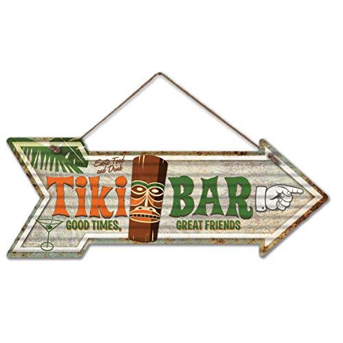 Rusty-Roof-Studio-Tiki-Bar-Corrugated-Arrow-Sign-24-Gauge-Galvanized-Metal-Hanging-Retro-Art-75-x-20