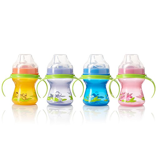 - Evenflo Feeding Zoo Friends Trainer Sippy Cup with Handle - Pink/Orange/Blue/Lavender, 5 Ounce (Pack of 4)