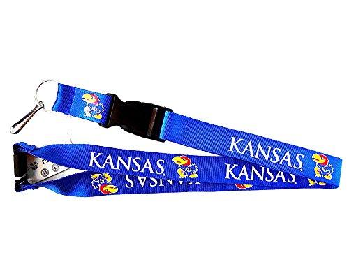 Kansas Jayhawks Sports Collegiate Team Logo Clip Lanyard Keychain Id Holder Ticket Blue