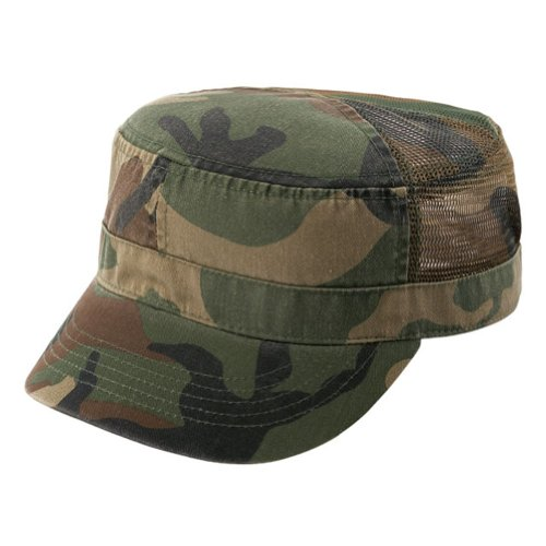 ENZYME WASHED TWILL ARMY CAP w/ MESH BACK - Camouflage