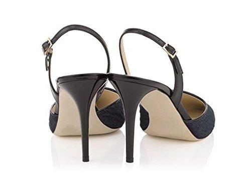 Minitoo Ladies MA52535 Stunning Single Strap Fabric Pump Shoes Black bpaBQe0