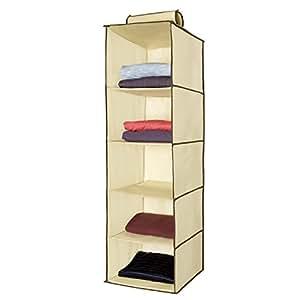 Ziz Home Hanging Clothes Storage Box (5 Shelving Units) Durable Accessory  Shelves   Eco