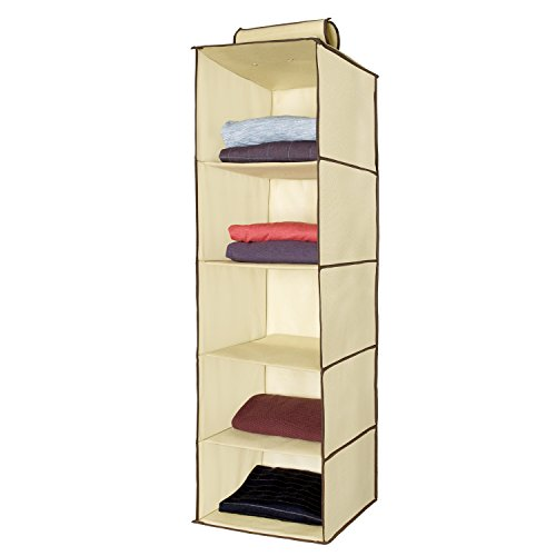 Ziz Home Hanging Closet Organizer | 5 Shelf Beige | Closet Hanging Organizer | Closet Organizer Hanging Shelves | Sweater Hanging Organizer | Hanging Clothes Storage Box Hanging Shelf Closet Organizer by Ziz Home