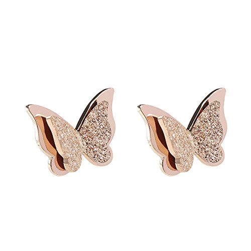 Back Earrings Screw Design (Lovind Rose Gold Butterfly Scrub Stud Earring,Fashion Silver Plated Earring Girl Gift Valentine's Day Present)