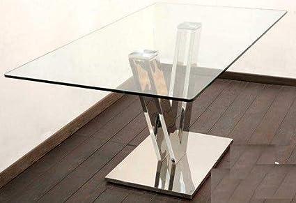 DRW Mesa Comedor de Acero y Cristal con Forma V 160x75x90 cm ...