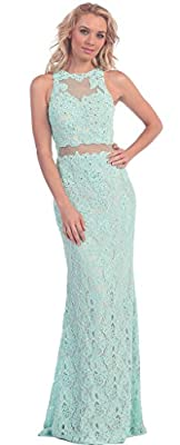 Meier Women's Lace Illusion Embroidery Two Piece Evening Prom Dress