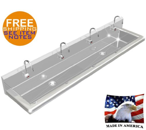 SURGEON'S HAND SINK 2 STATION 60'' HD STAINLESS STEEL #304 HANDS FREE MADE IN USA by BSM