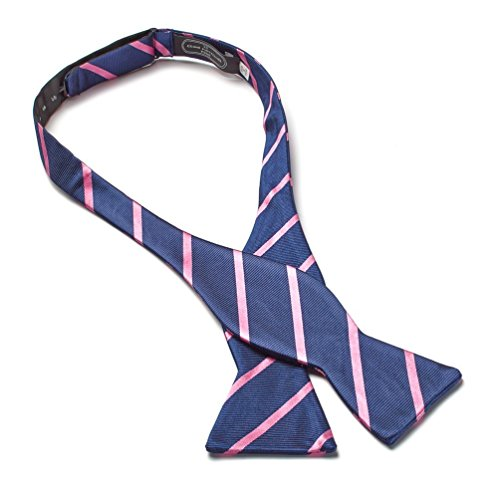 - Bruno Piattelli Silk Self-Tie Striped Bow Tie - Blue/Pink