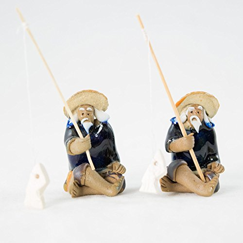 2 Chinese Mudman Figurine - Man Sitting Fishing - for Bonsai Tree...