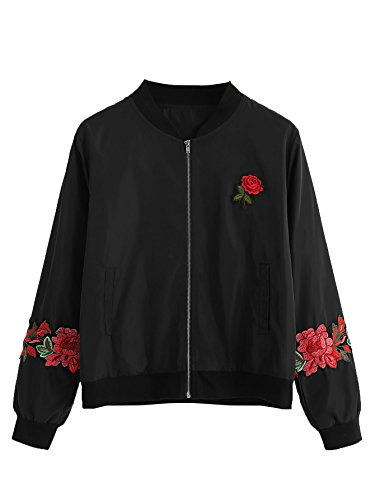 Womens Bomber - Floerns Women's Casual Short Embroidered Floral Bomber Jacket Black Red M