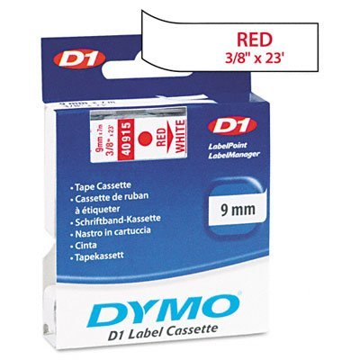 (D1 Tape Cartridge for Electronic Label Makers, Red on White, 3/8 w x 23 ft. (DYM40915) by DYMO)