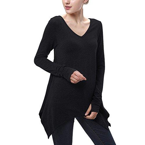 Mujer Casual Camiseta Blusas de Verano V Cuello Irregular Camisas Casual Color Sólido Tops Manga larga Mini vestido Negro