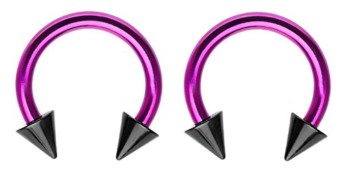 Pair of Purple pink w/ Black Spike's custom horseshoe Ring lip, belly, nipple, cartilage, tragus, septum, earring hoop - 18g , 5/16