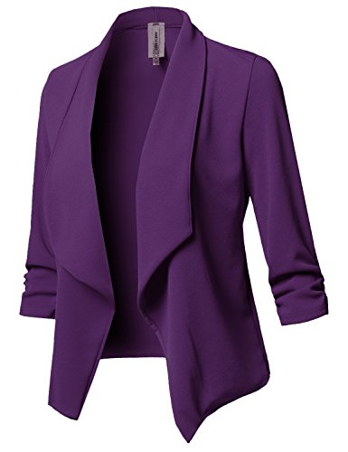 Stretch 3/4 Gathered Sleeve Open Blazer Jacket Purple L