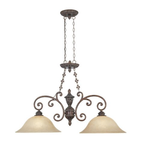 Designers Fountain 97538-BU Amherst Collection 2-Light Island Light, Burnt Umber Finish with Antique Harvest Beige Glass Shades (Kitchen Island Light Umber)