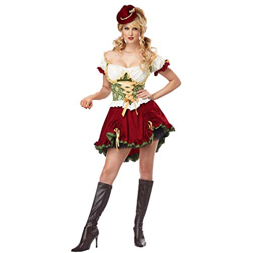 Women Vintage Beer Festival Dress 2 Pieces Bavarian Short Sleeve Waitress Cosplay Costume Midi Dress, Head Scarf Set (Red, M)