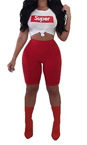 Molisry Women Short Sleeve Letter Print Crop Top Short Pants Jumpsuits 2 Piece Outfits Tracksuit