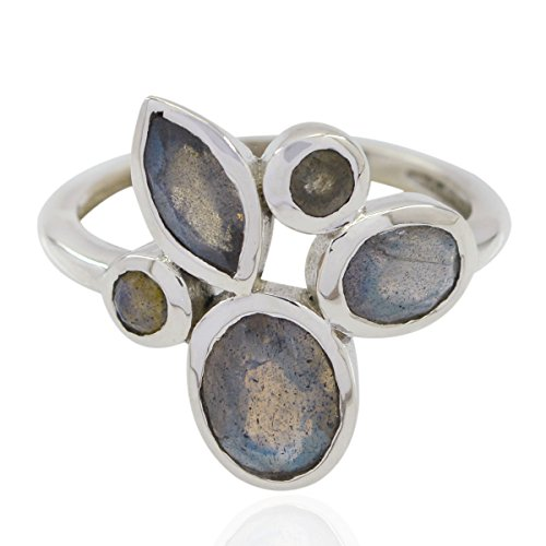 RGPL-Lovely Gemstones Fancy Shape Faceted Labradorite Rings - 925 Silver Grey Labradorite Lovely Gemstones Ring - Sexy Jewelry Good Seller Gift for Good Friday Boho Ring