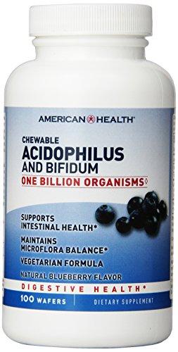 American Health croquer probiotiques, Acidophilus-Blueberry avec acidophilus et bifidus, 100 comte
