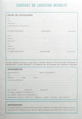 Contrat de location meuble for Contrat location meuble