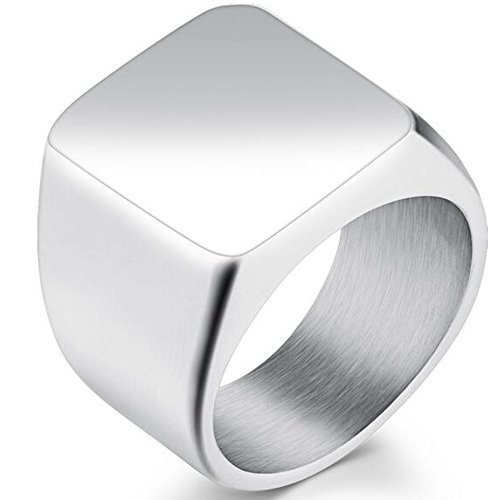 Jude Jewelers Stainless Steel Signet Ring Black Silver Gold Classical Cocktail Husband Father Valentine (Silver, 5)