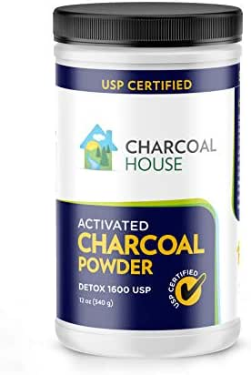 DETOX 1600 USP - Super Fine Coconut Activated Charcoal Powder - 12 oz