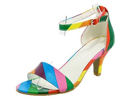 Multicolore Haut TSFLH005835 AalarDom Talon Ouverture d'orteil à Femme Boucle Sandales w1pxZq