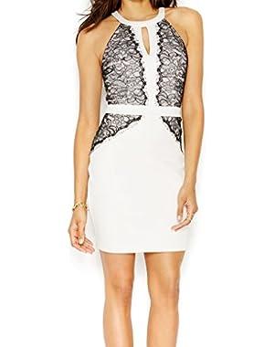 Guess Women's 'Diana' Lace-Trim Keyhole Halter Scuba Dress
