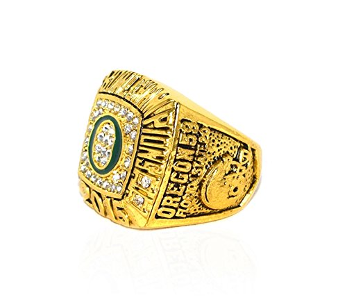 UNIVERSITY OF OREGON (Ducks) 2015 ROSE BOWL CHAMPIONS (Vs. Florida State) Collectible High Quality Replica NCAA Football Gold Championship Ring with Cherrywood Display Box