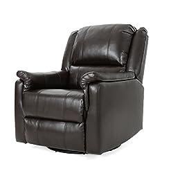 Living Room Christopher Knight Home Jennette Tufted Leather Swivel Gliding Recliner, Brown / Black