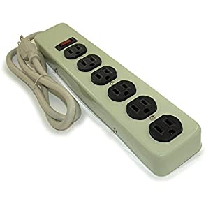 MyCableMart 6 Outlet Power Strip, 3ft Cord - Metal