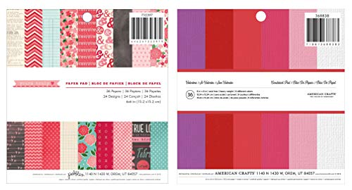 American Crafts 6x6 Paper Pad Bundle - Pebbles Yours Truly and Valentine Solid Colors