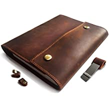 Albero Refillable Genuine Leather Journal for Men & Woman with spiral Bound Lined Notebook, 8x5, lay flat 240 Pages for traveling, working, studying and more (8.2 inches)
