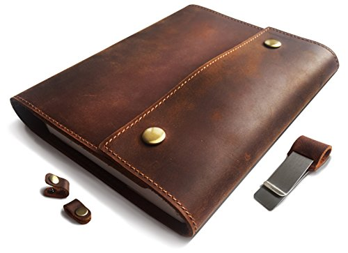 Albero Refillable Genuine Leather Journal for Men & Woman with wire Bound Lined Notebook, 8x5, lay flat 240 Pages for traveling, working, studying and - Mans Journal