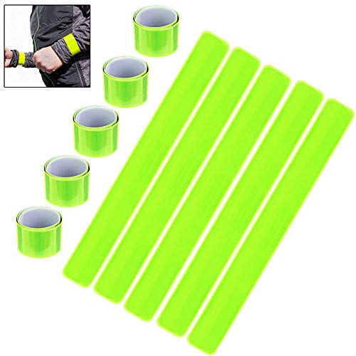 (BUZIFU 10 Pack Reflective Bands Slap Bands High Visibility Bands Yellow Reflective Strips Safety Armbands for Arm Ankle Wrist Bike Pant Leg Straps for Running Cycling Hiking Dog Walking Jogging)