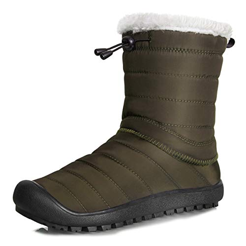Mens Womens Snow Boots Removable Zipper Winter Mid-Calf Ankle Booties Slip On with Warm Fully Fur Lined (Mid Calf-Army Green, 43) ()