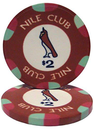 25 $2 Nile Club 10 Gram Ceramic Casino Quality Poker Chips (Casino Pharaohs Paulson Chips Poker)