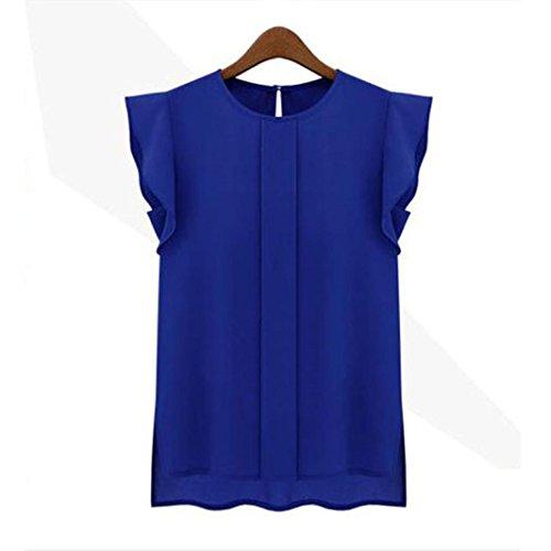 Womens Tanks,1PC Casual Loose Chiffon Short Tulip Sleeve Blouse Shirt Tops (Blue, L)